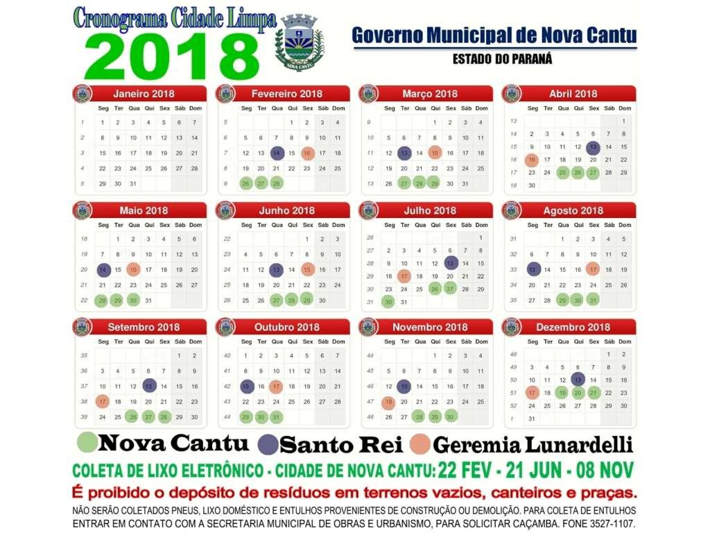 Calendário Anual de Limpeza Urbana 2018; - Galeria de Imagens