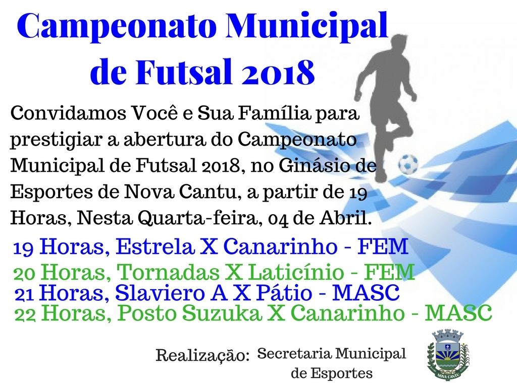 Campeonato Municipal de Futsal 2018 - Galeria de Imagens