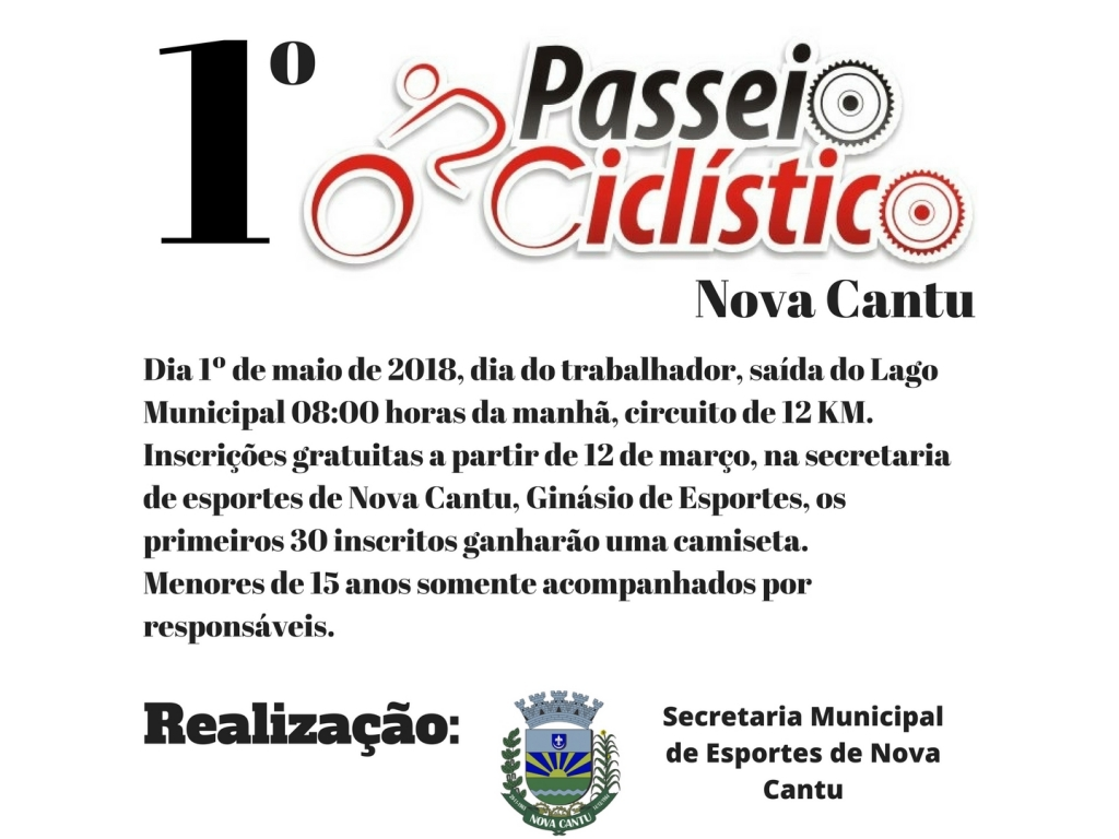 70 Ciclistas se Inscreveram Para Participar do 1º Passeio Ciclístico de Nova Cantu - Galeria de Imagens