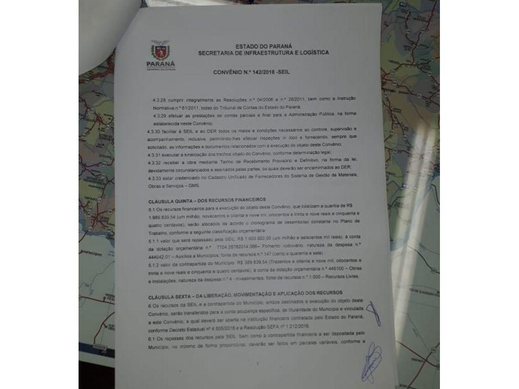 Prefeito Assina Convênio Para o Asfalto do Acesso e Distrito de Santo Rei e Vila Rural de Nova Cantu - Galeria de Imagens