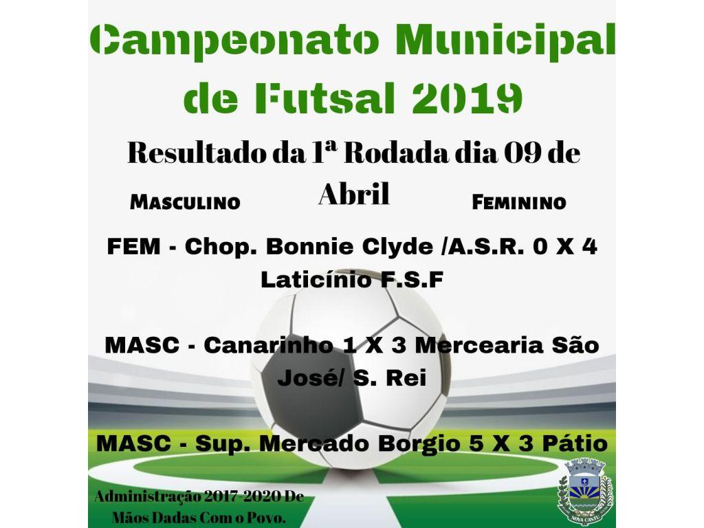 Resultados da Primeira Rodada do Campeonato Municipal de Futsal 2019 - Galeria de Imagens