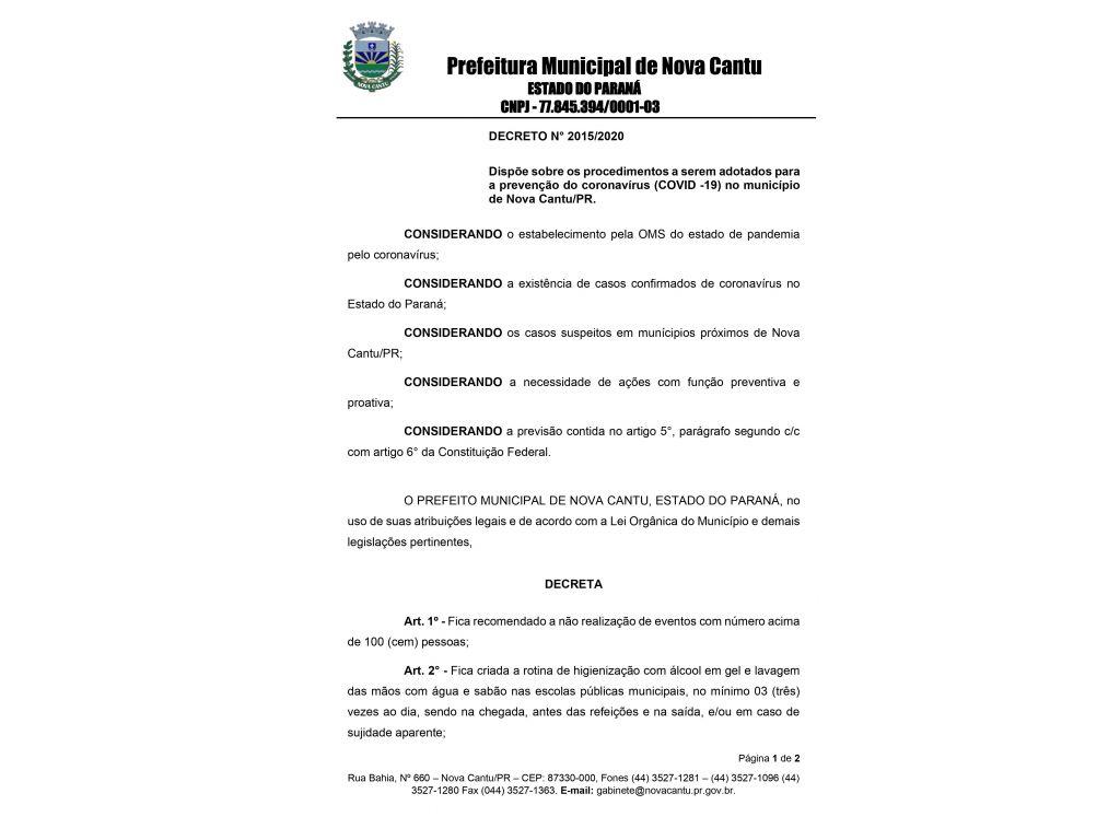 Decreto Nº2015/2020 - Galeria de Imagens