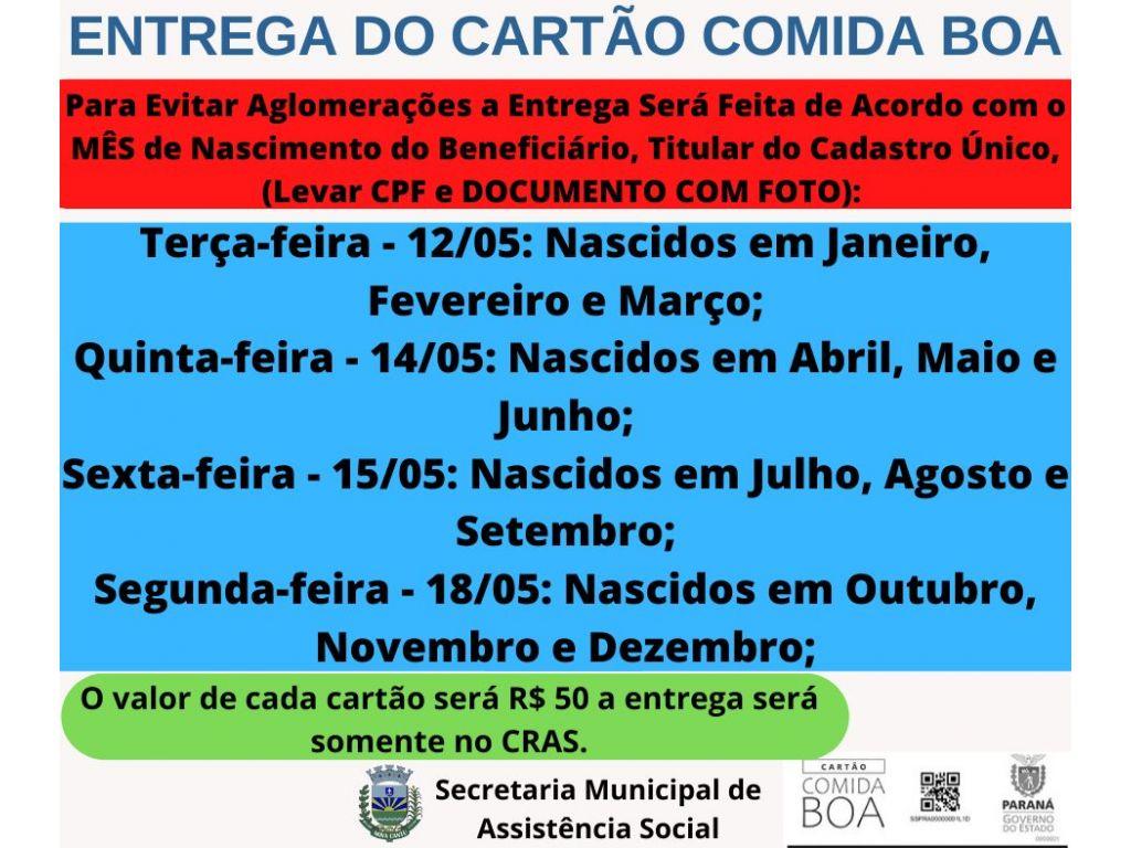 CRAS Inicia a Entrega do Cartão Comida Boa Terça-feira 12/05 - Galeria de Imagens