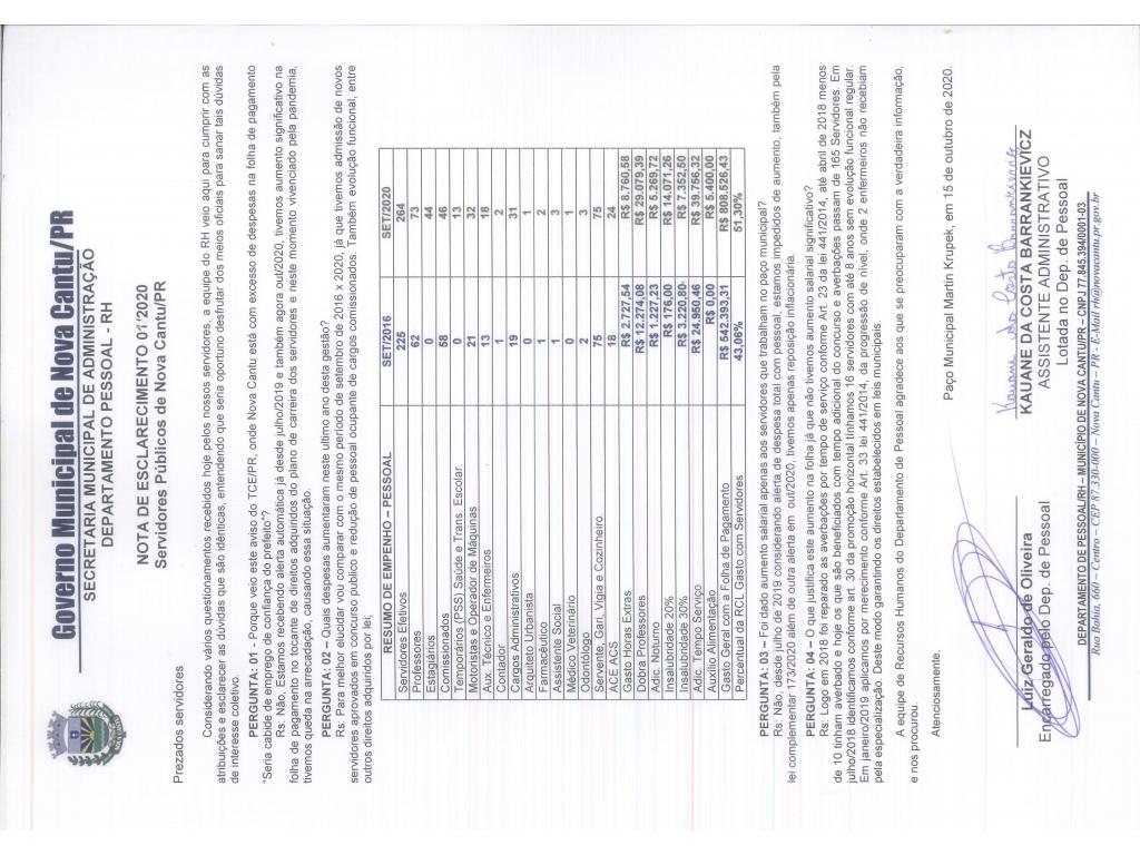 NOTA DE ESCLARECIMENTO 01/2020 - RH - Galeria de Imagens